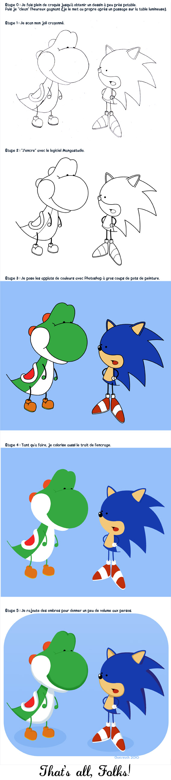 Yoshi et Sonic, Step by step